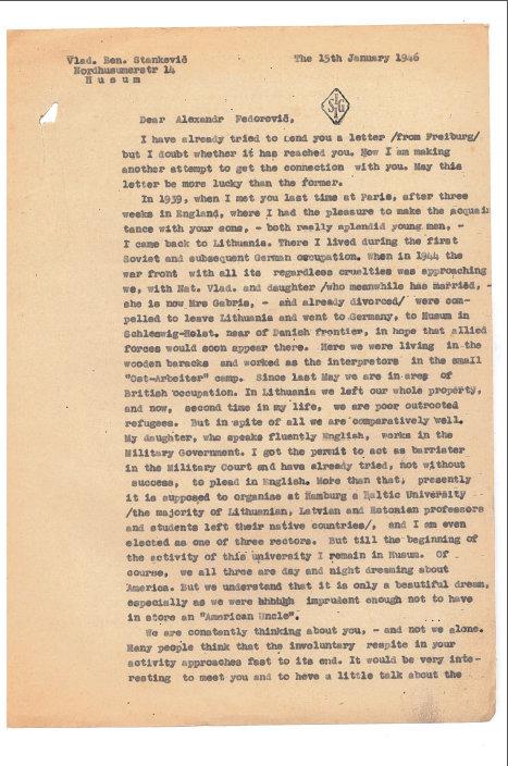 Prof. Vlado Stankos laiško Aleksandrui Fedorovičiui Kerenskiui fragmentas, 1946 m.
